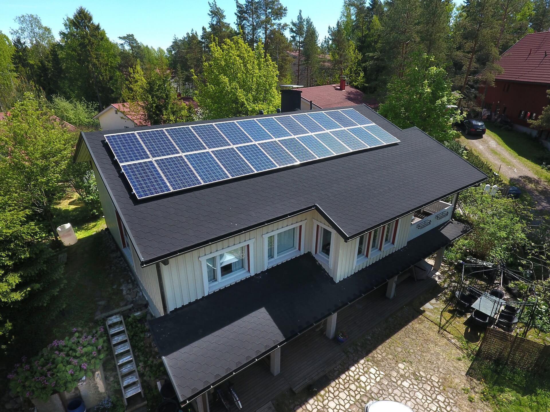 Aurinkopaneelit omakotitaloon tai sähköverkon piirissä olevalle mökille